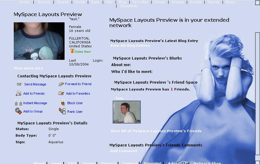 Myspace adult layouts